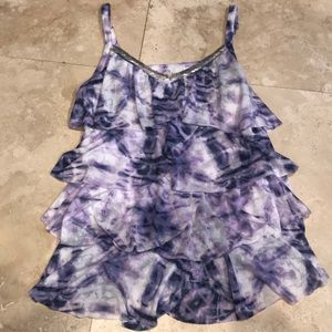 INC ruffled tank with adjustable straps.